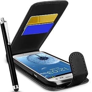 Supergets Hülle für Samsung Galaxy S III S3 Imitat Leder Tasche Hülle in Schwarz, Eingabestift, Schutzfolie