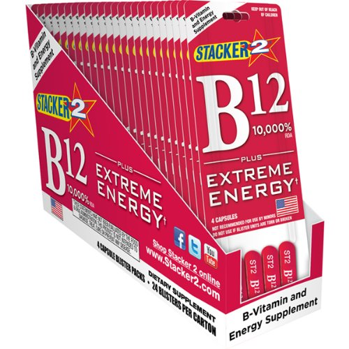 B12 Extreme Energy + Stacker 2 10,000% RDA - (24) Four Count Blister Pks
