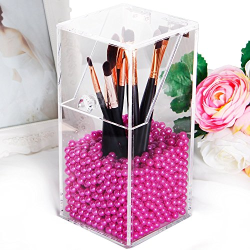 Putwo Clear Acrylic Makeup Organizer with Glossy Rosy Pearl - Small (Acrylic Small Containers compare prices)