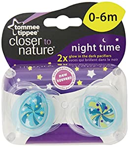 Tommee Tippee Closer to Nature Night Pacifier, 0-6 Months, 2 Count (Colors May Vary)