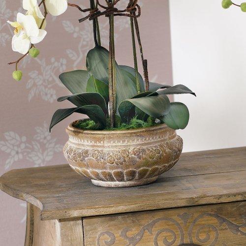 Plante Artificielle Orchid E Et Cache Pot En C Ramique Marron Hauteur 58 Cm Les Petites