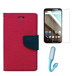 Sony Xperia T2 Ultra Combo Pack Of Flip Cover By Online Street (Pink + Tempered Glass + USB Light)