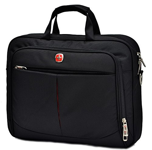 Swiss Travel Gear 14 Inch Laptop Macbook Computer Pc Single Shoulder Messengers Bag. For Tablet Ipad 2 3 4 Air Pro Plus.Outdoor Exercise Sport Pocket.Business And Casual School Fashion Stg77Ss4-Black