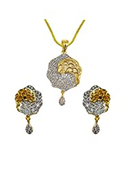 Sheetal Jewellery Silver & Golden Brass & Alloy Pendant Set For Women - B00TIGZQ6A