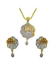 Sheetal Jewellery Silver & Golden Brass & Alloy Pendant Set For Women - B00TIGZQ6A