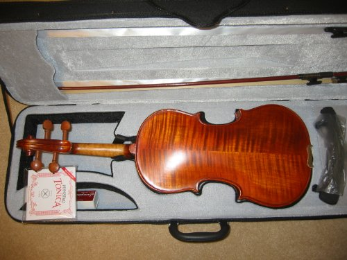 Vio-music Full-size 4/4 Vintage Style Violin (Bow, Case, Rosin and Shoulder Rest Included, One Free Set Pirastro Tonica Strings)