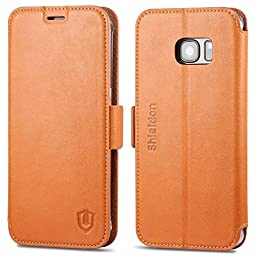 Galaxy S7 Edge Case, S7 Edge Case, SHIELDON Genuine Leather Wallet Case [Magnetic Closure] Flip Cover Folio Case with Card Slots & Stand [Slim Fit] for Samsung Galaxy S7 Edge - Brown