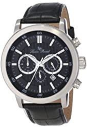 Lucien Piccard Men's 12011-01 Monte Viso Chronograph Black Textured-Dial Black Leather Watch