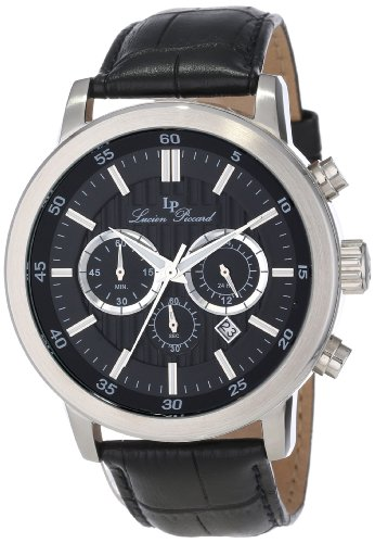 Lucien Piccard Men's 12011-01 Monte Viso Chronograph Black Textured Dial Black Leather Watch