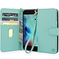 iPhone 6S Case, MP-Mall [Kickstand Function] [Card Slot] Premium PU Leather Folio Flip Wallet Case Cover With Wrist Strap For Apple iPhone 6 / 6S 4.7 Inch (Mint)