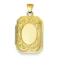14K Gold Engravable Rectangle Locket…