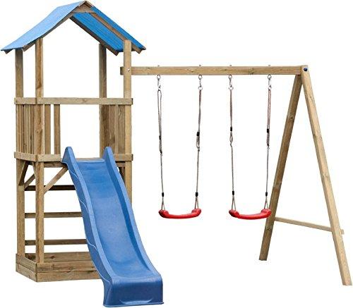 Spielturm 7 inkl. Wellenrutsche und Doppelschaukel-Anbau – Abmessungen: 295 x 290 cm online kaufen