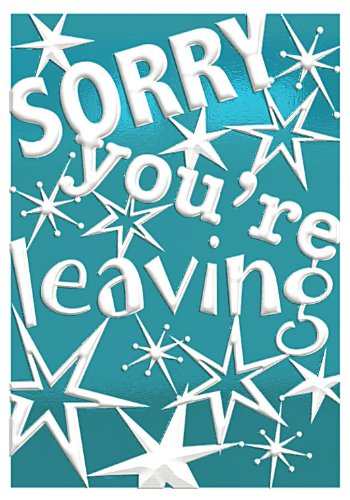 Gold Sorry You're Leaving Greetings Card Stars 9.5