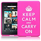 AMAZON KINDLE FIRE TABLET KEEP CALM & CARRY ON LASERED SILICONE CASE / SKIN / COVER / SHELL - PINK/WHITEby TERRAPIN