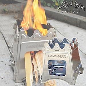 YAZZMAT 組み立て式 携帯式 ステンレス製 ウッドストーブ コンパクト収納 折りたたみ 焚火コンロ