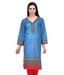 BPT Stylish Casual Wear Blue Cotton Printed Woman's Kurti ( Size XL / 42