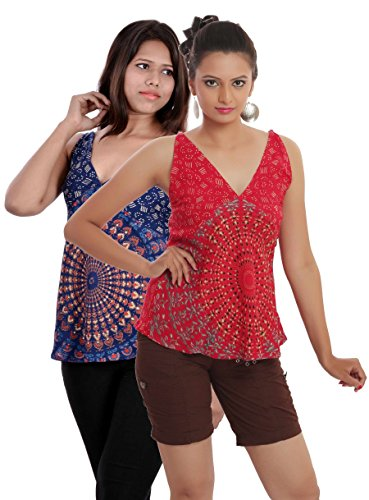 Set of 2 Indi Bargain Rayon Mandala Hand Block Soft Rayon Beachwear Top (204RedNBlue)