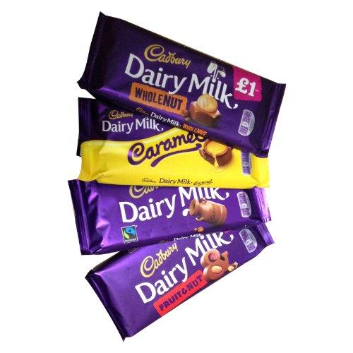 Cadbury Assortment (キャドバリー アソートメント) 4 x 120g - Dairy Milk, Fruit & Nut, Whole Nut, Caramel (デイリーミルク、フルーツ&ナッツ、ホールナッツ、キャラメル 4種) 【並行輸入品】【海外直送品】