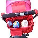Vine Cochecito de beb� Organizador, Cochecito de beb� Cochecito Buggy Cesta Botella Bolsas Copa Bolsas (Red zebra)