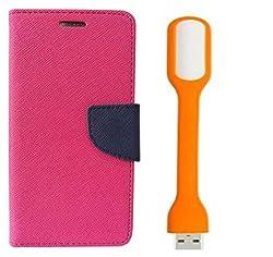 Novo Style Book Style Folio Wallet Case XiaomiMi4i Pink + Mini USB LED Light Adjust Angle / bendable Portable Flexible USB Light