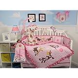 SoHo Melanie the Monkey Baby Crib Nursery Bedding Set 13 pcs included Diaper Bag with Changing Pad & Bottle Case