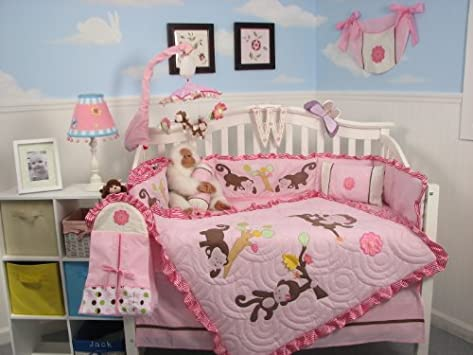 Great SoHo Melanie the Monkey Baby Crib Nursery Bedding Set pcs included Diaper Bag with Changing
