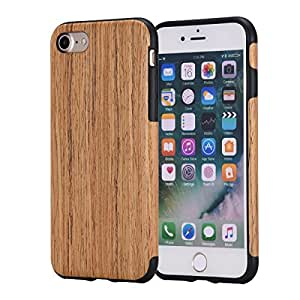 iPhone 7 Case,REENUO Non Slip Soft Real Wood Slim Bumper, Scratch Resistant Grip Ultra Light TPU Snap Back Cover with Rubber Corner Slim Shockproof Protective Cover for iPhone 7 (CherryWood)