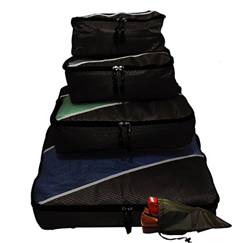 evatex-travel-packing-cubes-with-shoe-bag-black-4-piece-set