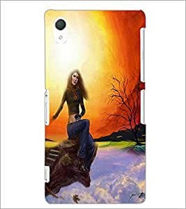 PrintDhaba Sitting Girl D-4190 Back Case Cover for SONY XPERIA Z3 (Multi-Coloured)