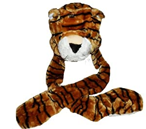 Kids/Childs TIGER BROWN Plush Winter Hat - Incs attached Scarf & Mitts (All in One)