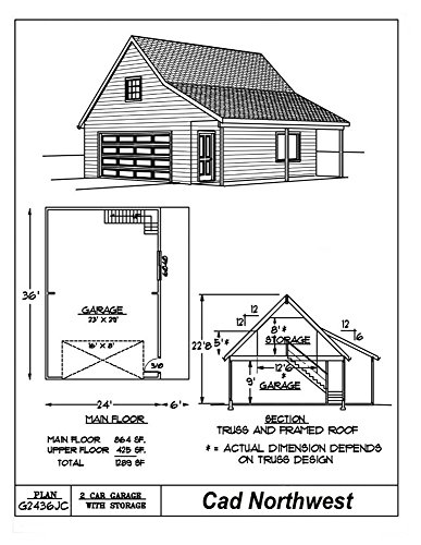 Garage plans 24 39 by 36 39 with porch 2 car single for 2 story garage plans with loft
