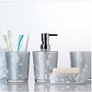 Bathroom accessory sets genuine promotional for Silver bathroom accessories set