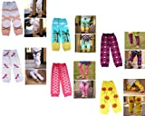 Bundle Monster 6 Pair Baby Leggings / Leg Warmers Mix Design Set for Girl - Fit 0 to 5 yrs Toddler