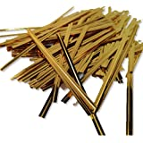 """100 Gold 4"""" (100mm) Metallic Twist Ties / Bag Sealers Coloured Plastic with Wire"""