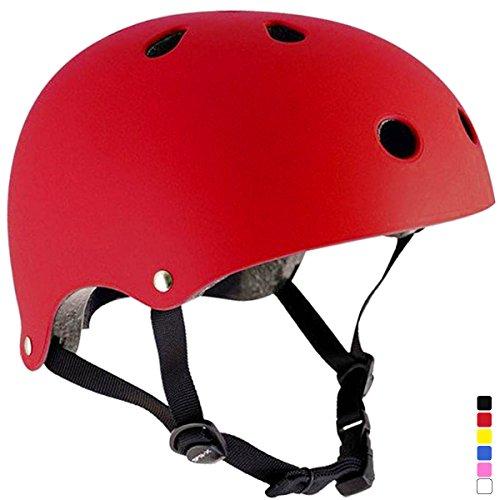 praise lightweight sports helmet for children and adult all 6 color bike inline Skate skateboard skates protector red M.