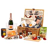 Florence 4 Person Picnic Basket Hamper with 75cl Veuve Clicquot Rose Champagne & Luxury Fine Food Selection Including Smoked Duck, Mature Cheese Truckle & Blue Stilton Wedge, Caviar, Quails Eggs, Crackers, Chutney, Stuffed Olives & More - Luxury 18th, 21