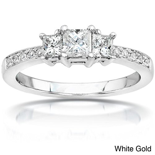 0.58 Carat Three Stone Cheap Wedding Ring with Princess cut Diamond on 18K White gold