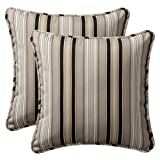 Pillow Perfect Decorative Black/Beige Striped Toss Pillows, Square, 2-Pack