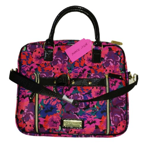 Betsey Johnson Stud Front Double Zip Pocket Laptop Bag, Acrylic Flowers Pink, Br14945 front-1023298