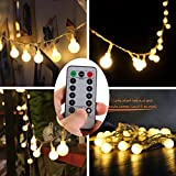 [Remote & Timer] 16 Feet 50 LED Outdoor Globe String Lights 8 Modes Battery Operated Frosted White Ball Fairy Light(dimmable - Ip65 Waterproof - Warm White)