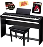 Casio Privia PX-160 Digital Piano Bundle with Casio CS67 Furniture Stand, SP33 3-Pedal System, Bench, Austin Bazaar Instructional DVD, and Instructional Book - Black