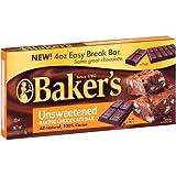 Baker's Unsweetened Baking Chocolate Bar, 4 Oz