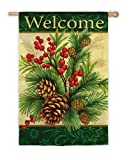 Garden Sized Silk Reflections Flag: Winter Pine