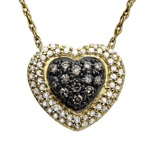 10k Yellow Gold Chocolate Brown Diamond and White Diamond Pave Heart Pendant (1/3 cttw, I-J Color, I2-I3 Clarity), 18