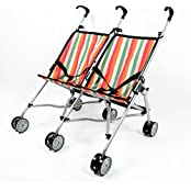 The New York Doll Collection Striped Doll Twin Stroller For Kids - Doll Stroller Folds For Storage -