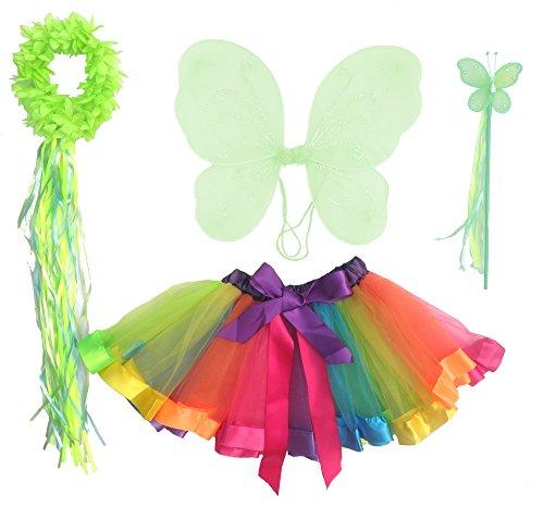 Girls 4 Piece Rainbow Fairy Costume (Rainbow Fairy Costume)