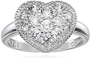 Sterling Silver Cubic Zirconia Heart Ring, Size 5