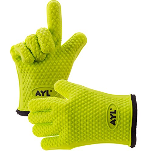 AYL Silicone Cooking Gloves - Heat Resistant Oven Mitt for Grilling, BBQ, Kitchen - Safe Handling of Pots and Pans - Cooking & Baking Non-Slip Potholders - Internal Protective Cotton Layer (Heat Cooking Gloves compare prices)