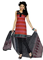 Araham Black and Red Printed 100% Cotton Unstitched Salwar Suit Dress Material