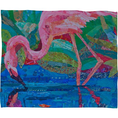 Deny Designs Elizabeth St Hilaire Nelson Flamingo 2 Fleece Throw Blanket, 80-Inch By 60-Inch